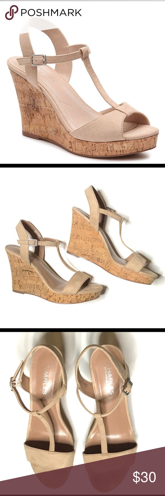df0ca64362 Charles David | Suede T Strap Cork Wedge Sandals Lucas Wedge sandals from  Charles, by