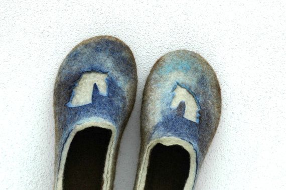 a8b5eb93aad63 Felted slippers Unisex slippers Horse decor Brown blue green Valenki ...