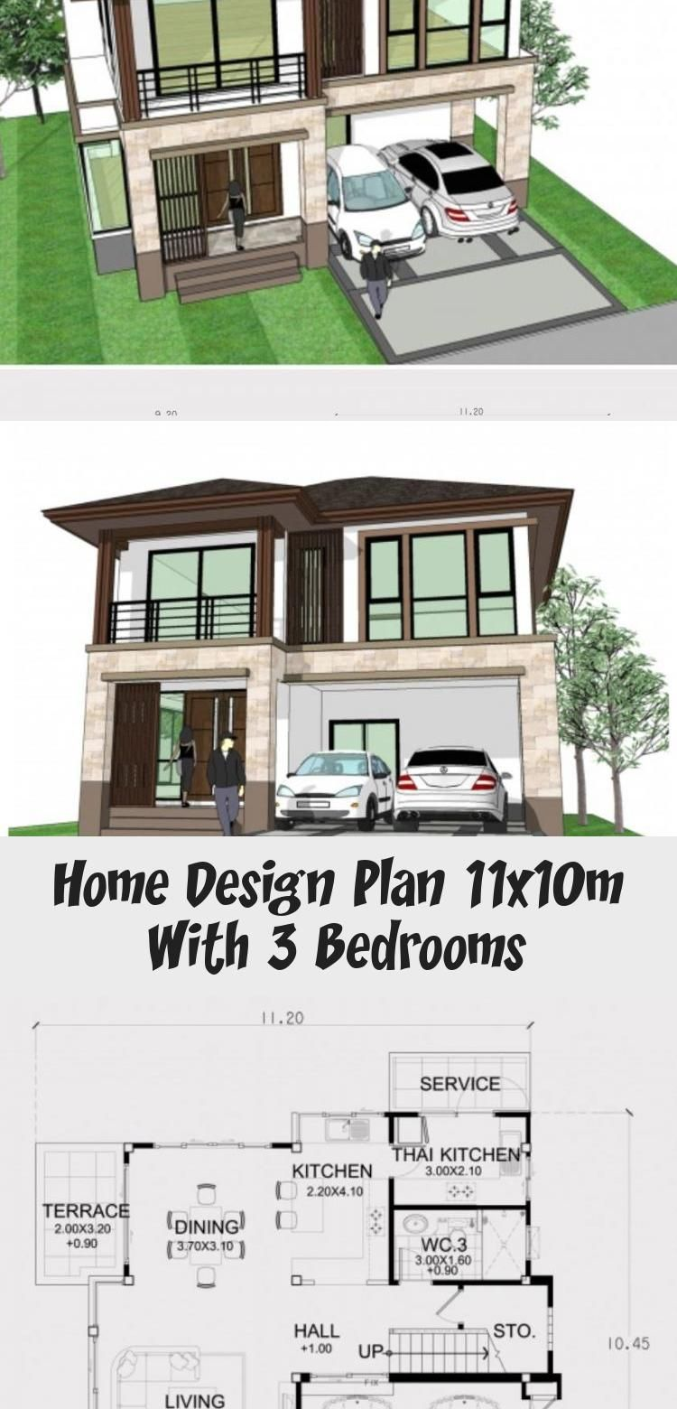 Home design plan 11x10m with 3 bedrooms - Home Ideas #ModernHouseExteriorFence #TraditionalModernHouseExterior #ModernHouseExteriorRenovation #SimpleModernHouseExterior #ModernHouseExteriorDark