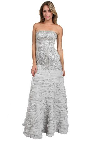 One of the rare dresses that is in silver.  But its gorgeous.  Strapless Chiffon Polyester Beaded Fitted Applique  Dress