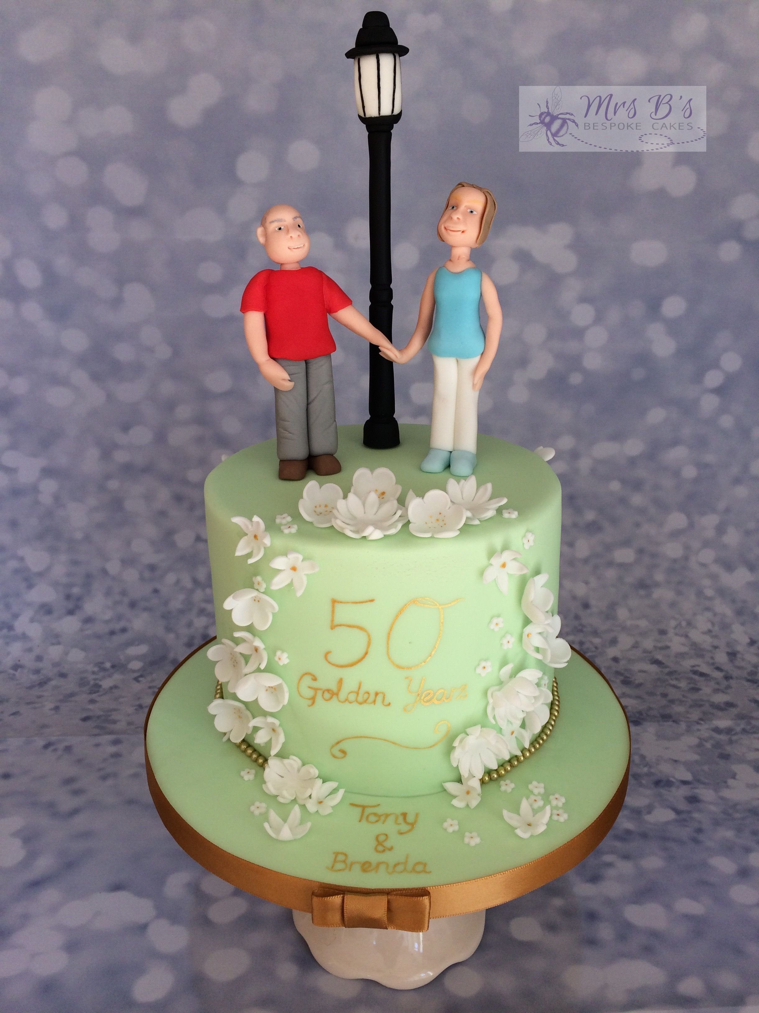 Golden Wedding Anniversary Cake With Personality Handcrafted And