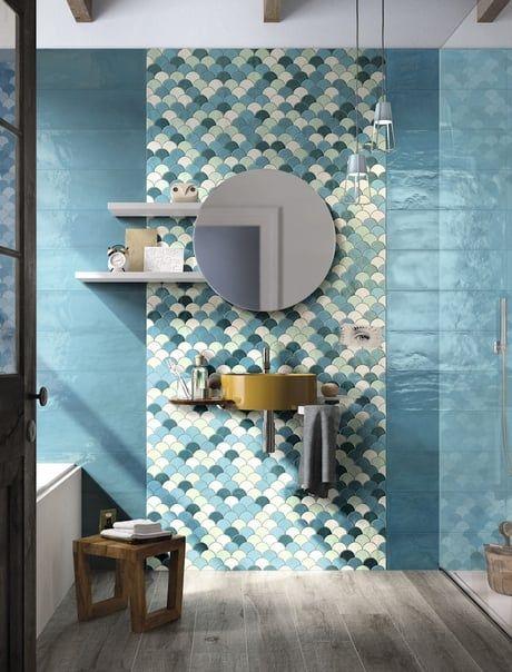 Carrelage écailles de poisson Salle de bains Pinterest - repeindre du carrelage de salle de bain