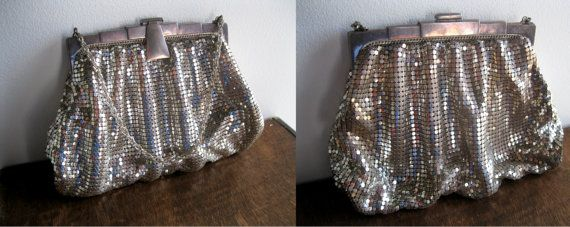 1940s Silver Mesh Whiting and Davis Purse with Art Deco Style Silver Metal Frame and Clasp Made in USA