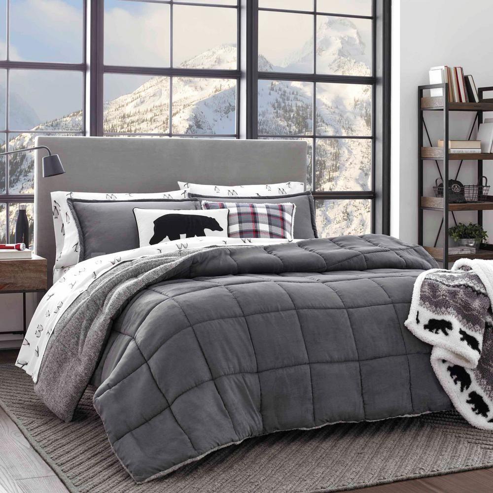 Eddie Bauer 3 Piece Sherwood Gray King Comforter Set Grey