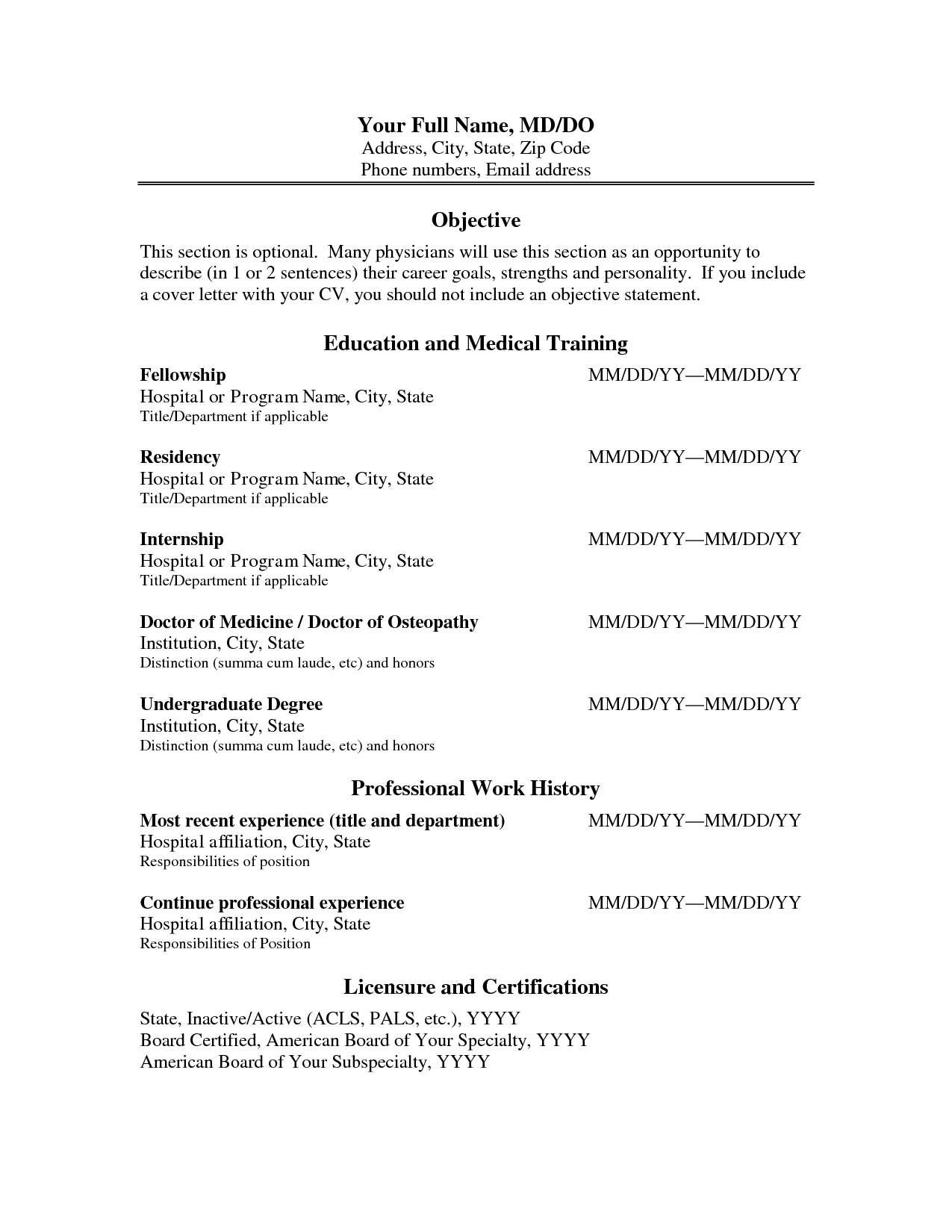 Cv Format Physician Assistant Resume And Curriculum Vitae Template