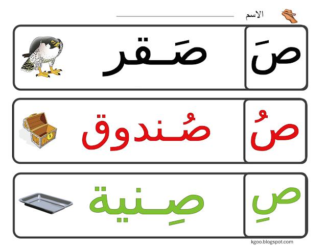 تعليم حرف الصاد للاطفال مع الكلمات بالحركات ورقة عمل حرف ص Arabic Alphabet For Kids Arabic Kids Alphabet For Kids