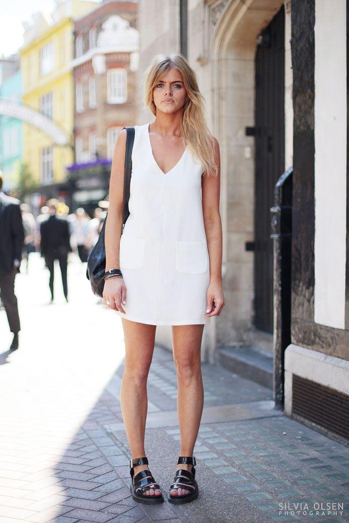 white dress + chunky sandals   Summer