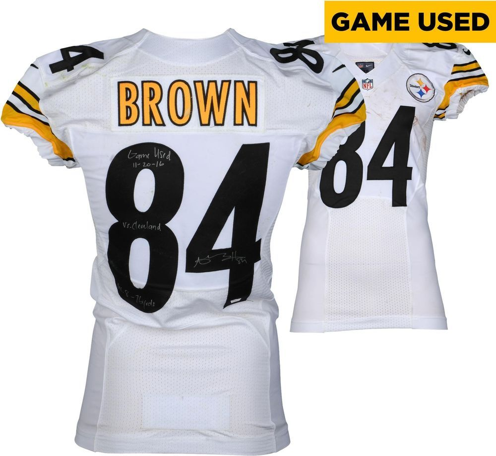 d4e528a4d9b Antonio Brown Pittsburgh Steelers Signed GU  84 White Jersey v Browns - 11  20 16  sportsmemorabilia  autograph  football