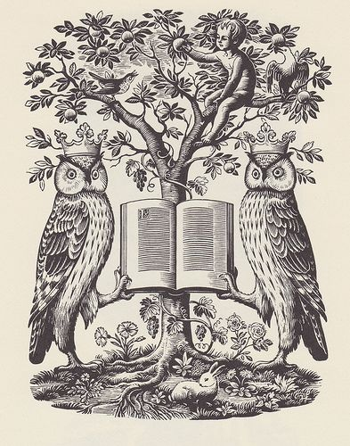 Leeds City Libraries - The Book Guide, 1947 - engraving by Joan Hassall