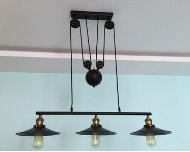$179.11 (Buy here: http://appdeal.ru/e522 ) 3-arm Vintage American Country Loft Edison Lifting Industrial Pulley Pendant Lights Adjustable Wire Lamps Bar Decor Lighting for just $179.11