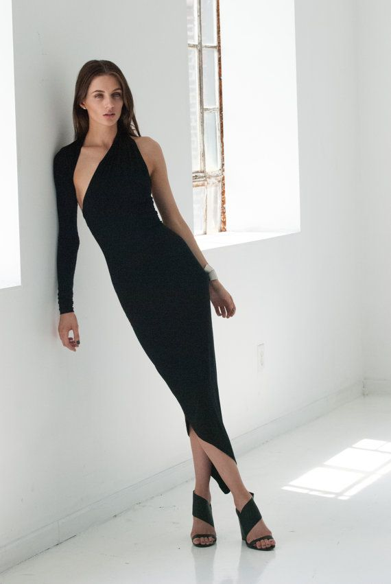 212992b380e Black Dress / Asymmetric Midi Dress / Party Dress / One Shoulder Dress /  LBD / Unique Dress / marcellamoda Signature Design - MD008
