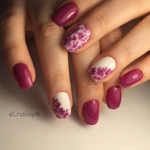 Drawings on nails, Evening dress nails, Evening nails, Festive nails, flower nail art, Fuchsia nails, Nails ideas 2016, Nails with red flowers
