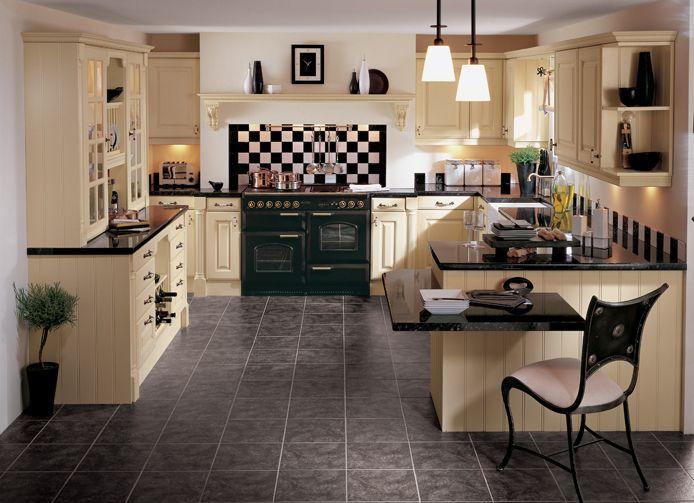 Dark stove with cream kitchen | Glazed kitchen cabinets ...