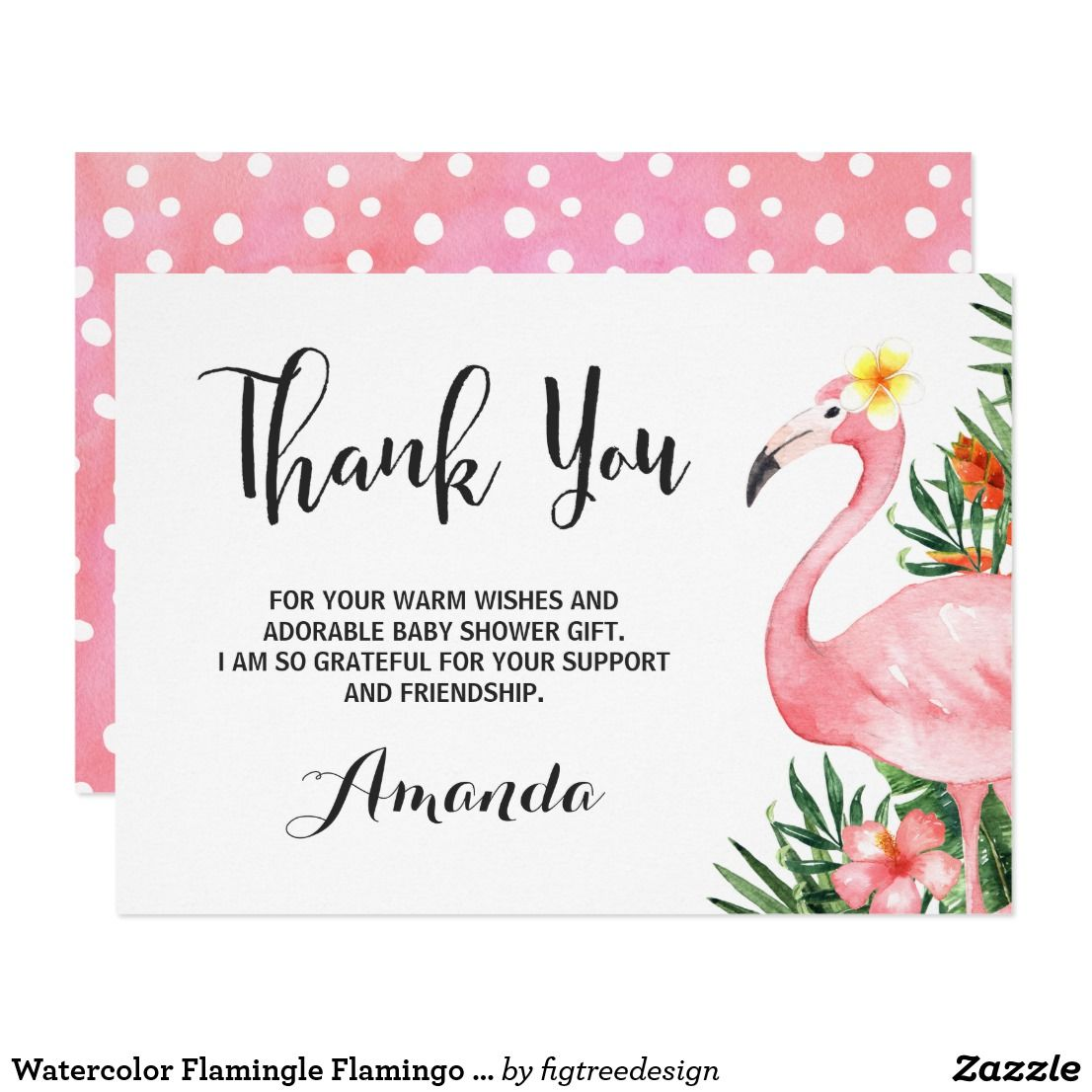 Watercolor Flamingle Flamingo Thank You Card Zazzle Com Thank You Cards Your Cards Cards