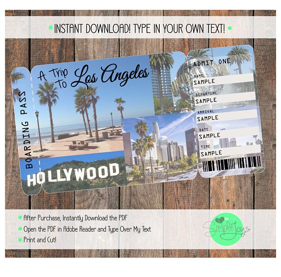 Surprise anyone with a trip to Los Angeles by giving them this - fake airline ticket maker