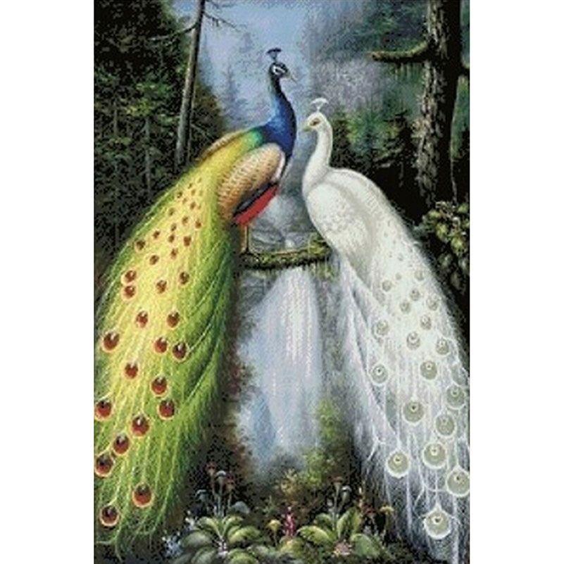 Creative 5D Diamond Painting DIY Embroidery Cross Stitch Kits Couple Peacock