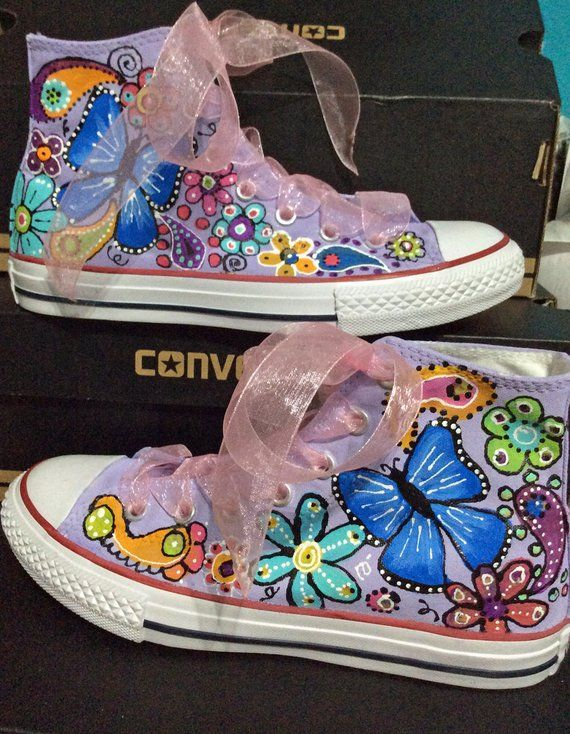 Custom Converse Sneakers for Flower Girl, Floral Chuck