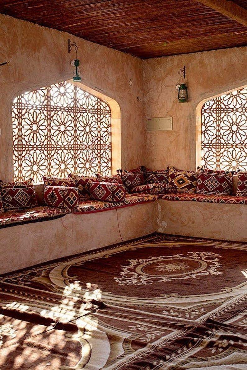 natural furniture, small home decor, floor seating sets, arabic furniture, arabic style floor pillow, majlis sofa, bohemian style home decor