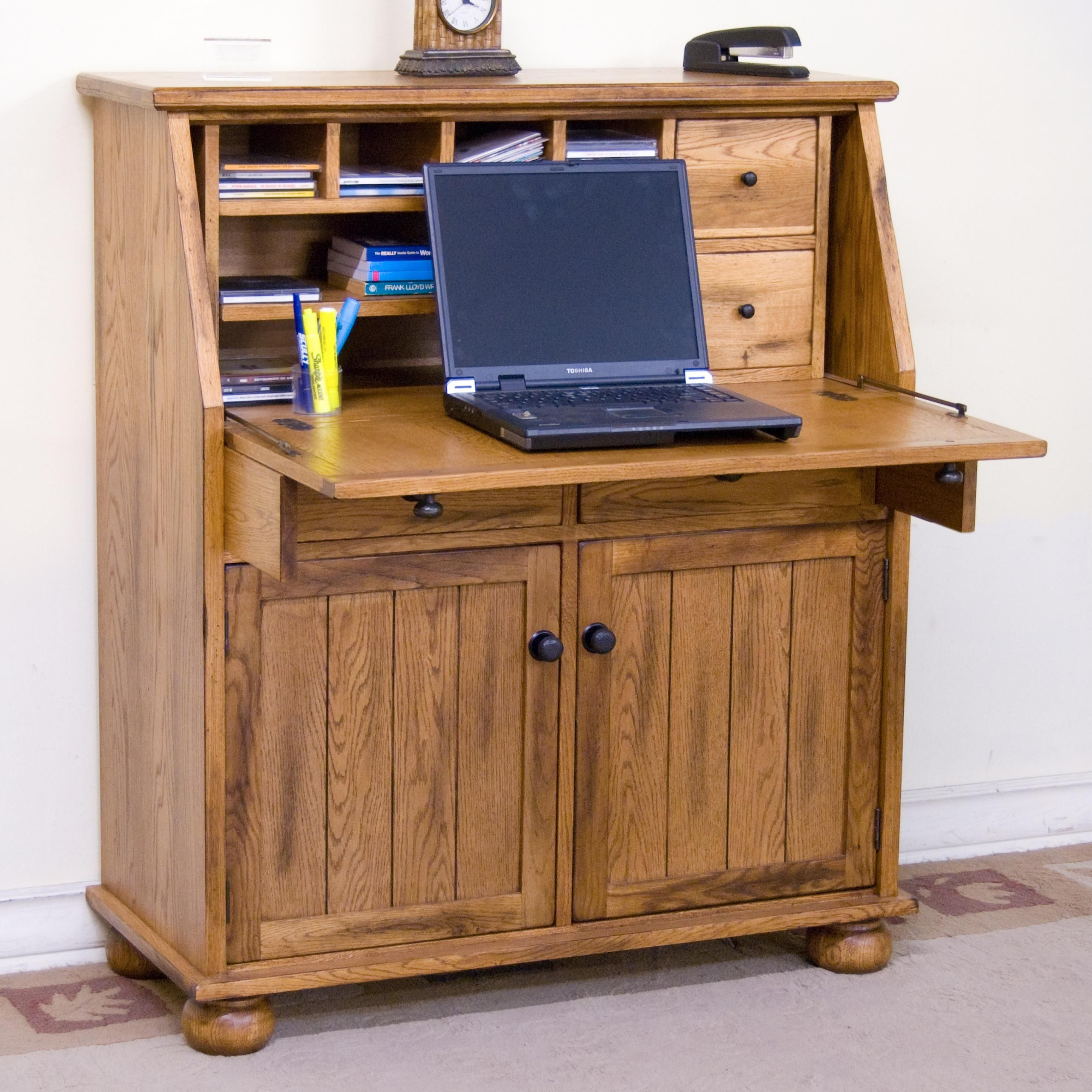 sedona drop leaf laptop desk armoire by sunny designs home office