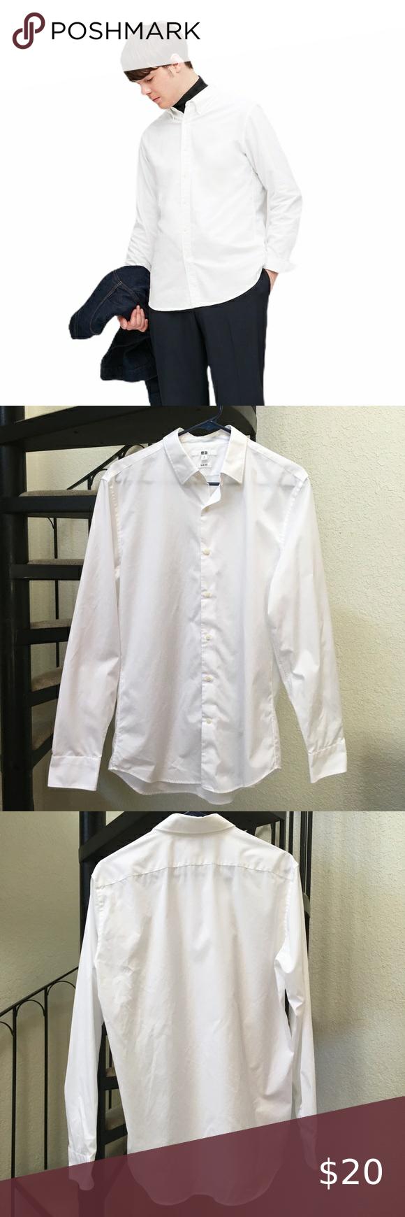 Uniqlo Slim Fit Long Sleeve Button Down Shirt M Button Up Closure Dress Shirt White Size Medium Excellent In 2020 Mens Shirt Dress Button Down Shirt Dress Shirt Colors [ 1740 x 580 Pixel ]
