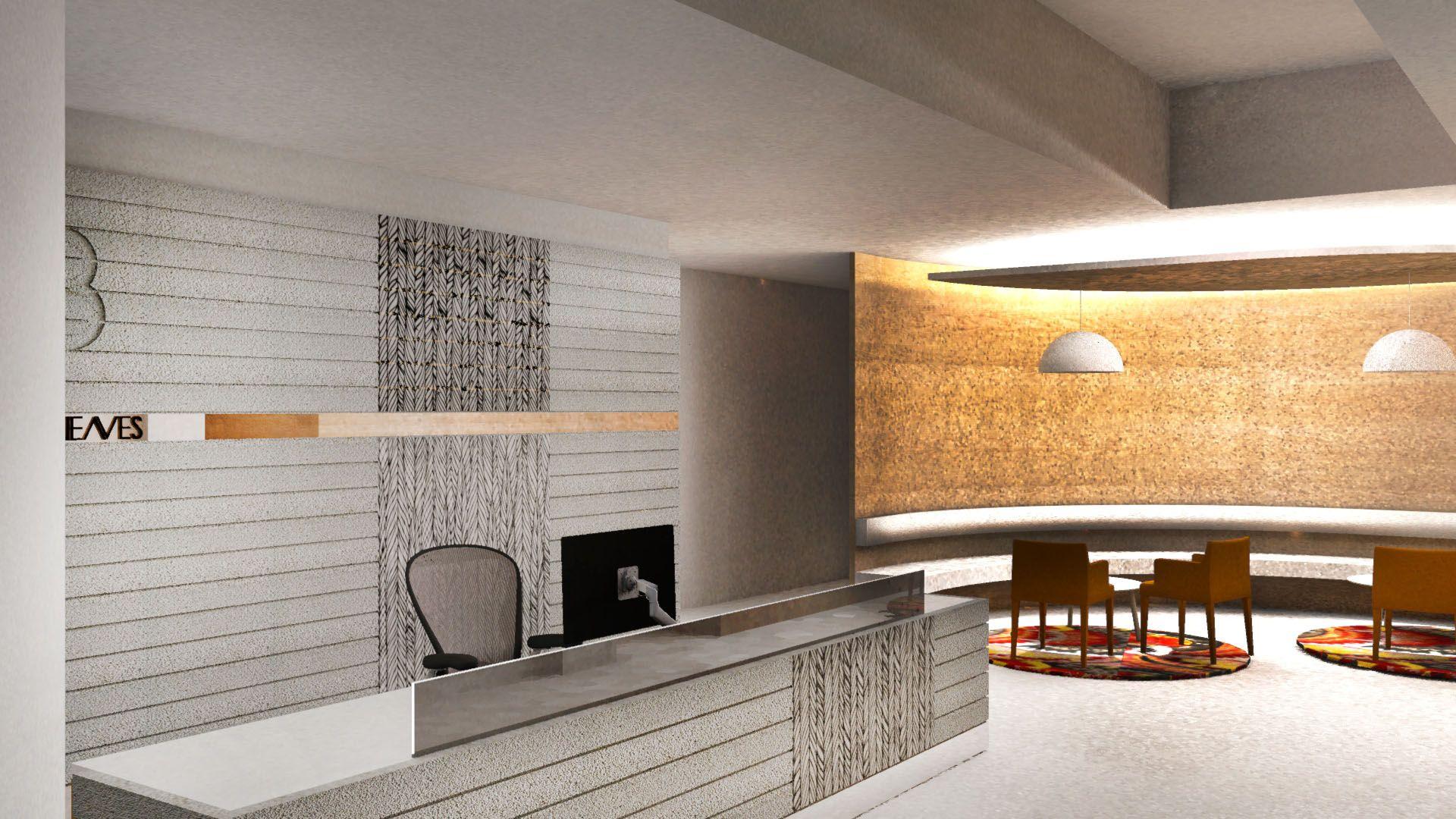 MKDC | 3D Render | Concrete Reception Desk