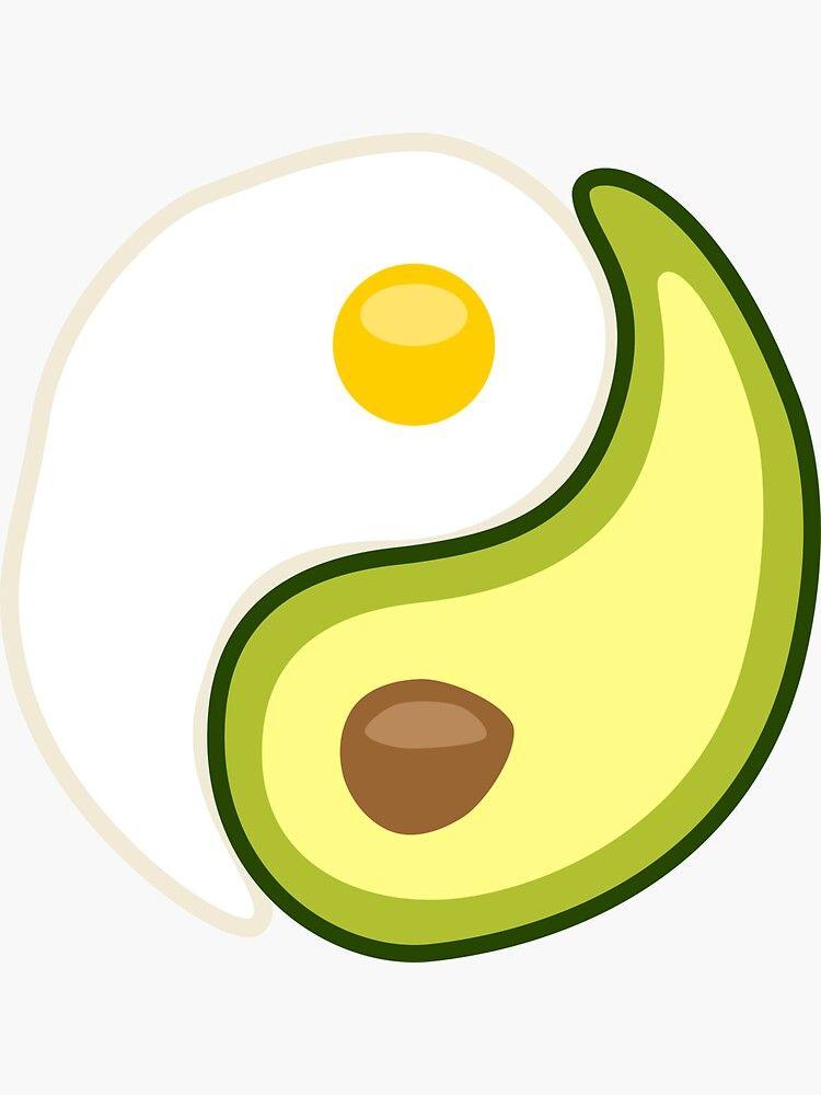 Avocado Egg Yin Yang Sticker By Lurchmerch Yin Yang Yin Yang Sticker Yin Yang Art
