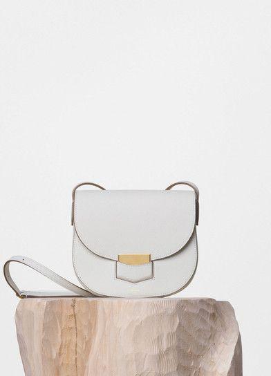 Small Trotteur Shoulder Bag in White Grained Calfskin - Céline  978b73bd626d3