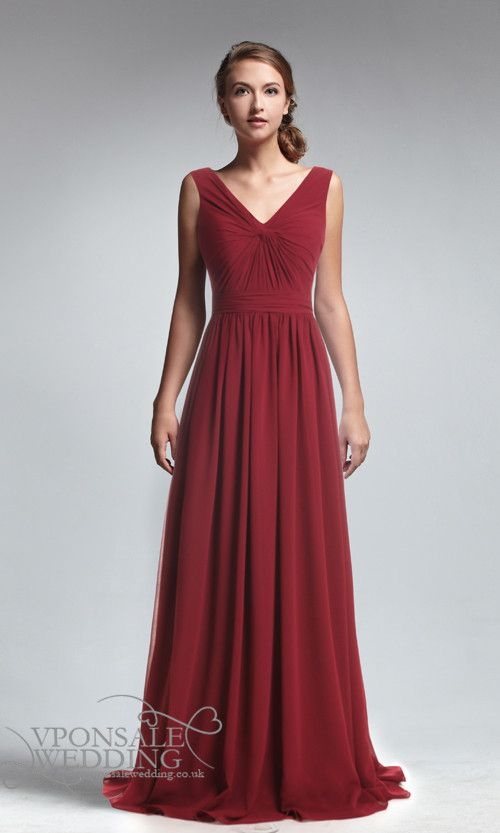 Eleagant Red V-neck Full Length Bridesmaid Dress DVW0144 ...