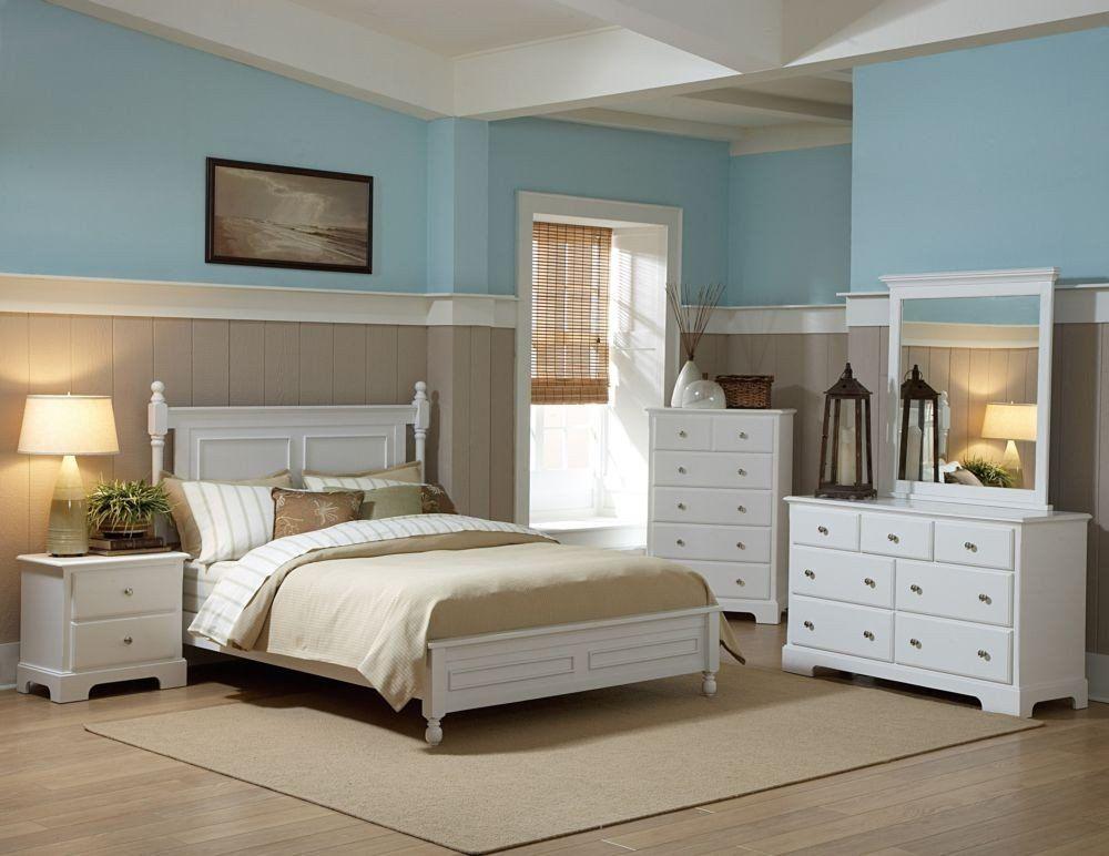 Morelle 4Pcs Cottage White Wood Eastern King Lower Post Bedroom Set