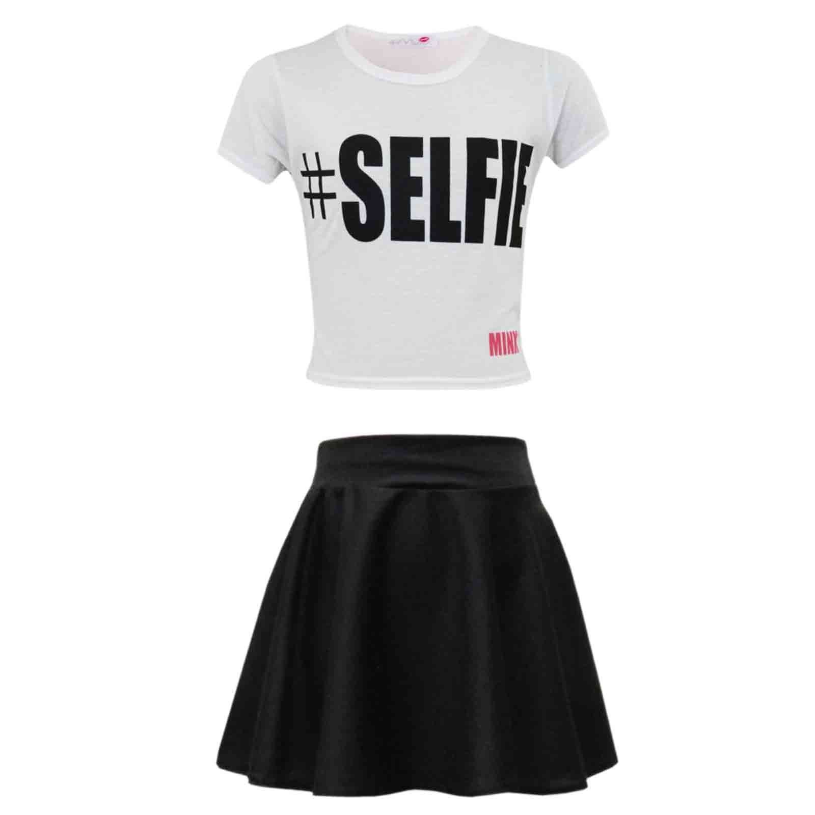 efb4a68029df Kids Girls  SELFIE Crop Top   Fashion Skater Skirt Set 7 8 9 10 11 ...