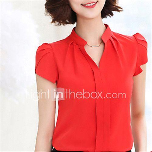 011f5e10bd Feminino Camisa Social Para Noite Casual Trabalho Moda de Rua Primavera  Verão