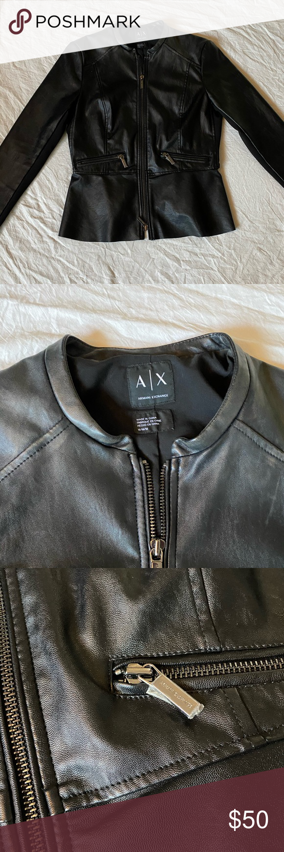 A/X Armani exchange leather jacket sz M in 2020 Leather