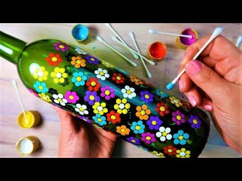 SUPER EASY Qtip Bottle Painting Rainbow Dot Flowers | How To with Lydia May