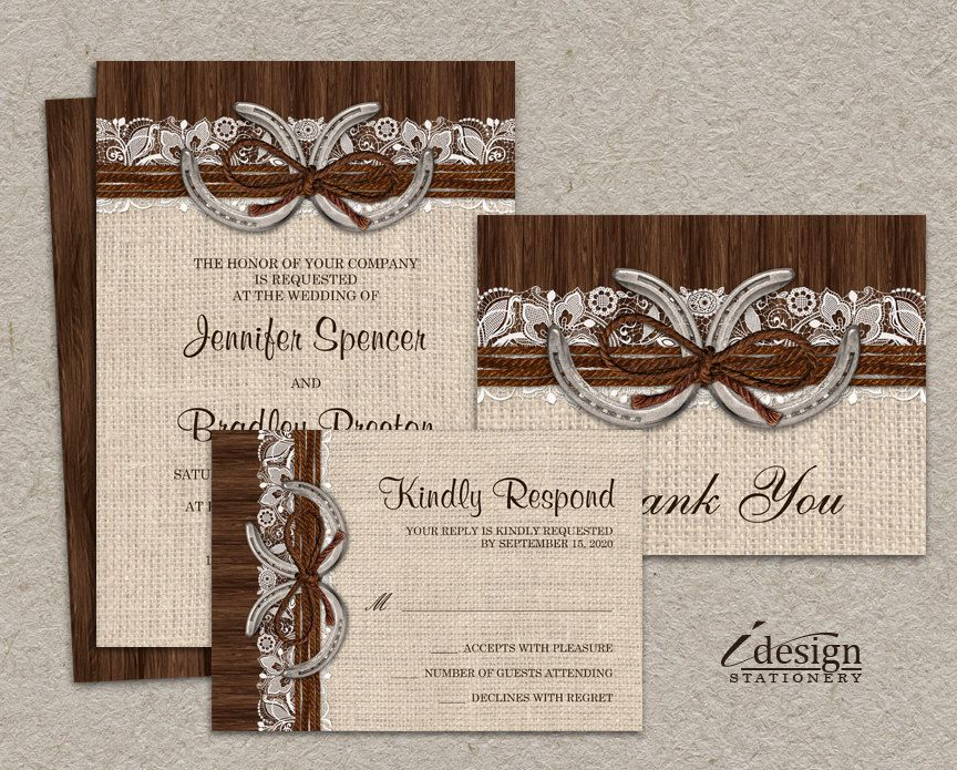 DIY Printable Country Western Horseshoe Wedding Invitation Set With Rustic Burlap And Lace Design, Horseshoes And Twine On Brown Barn Wood by iDesignStationery on Etsy