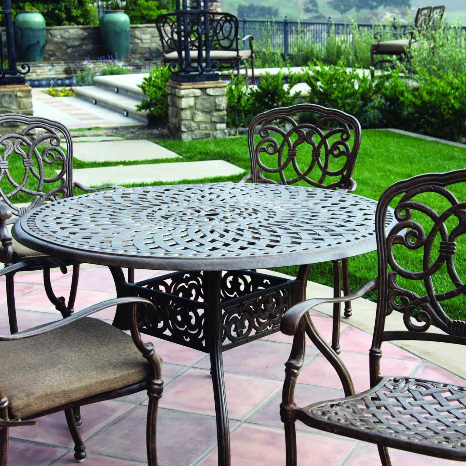 Darlee Florence 4 Person Cast Aluminum Patio Dining Set Mocha