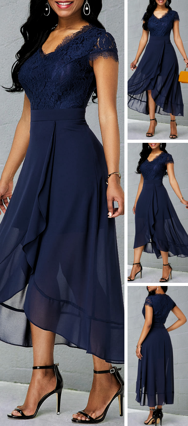 navy blue chiffon dress is enough to make any girls heart