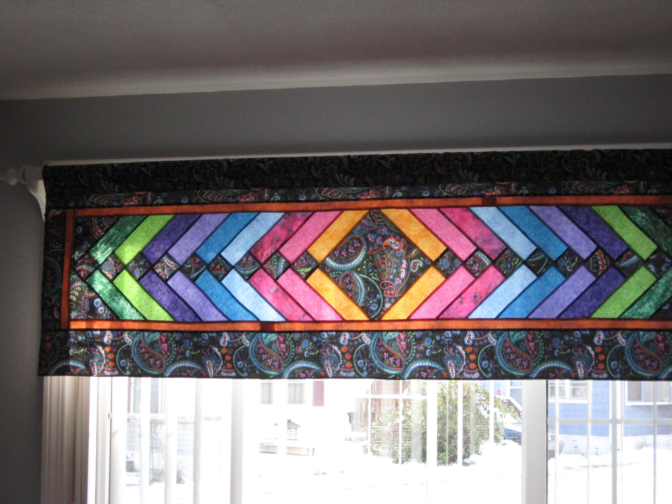 French Braid Valance Quilting Room Stained Glass Quilt Quilted Curtains