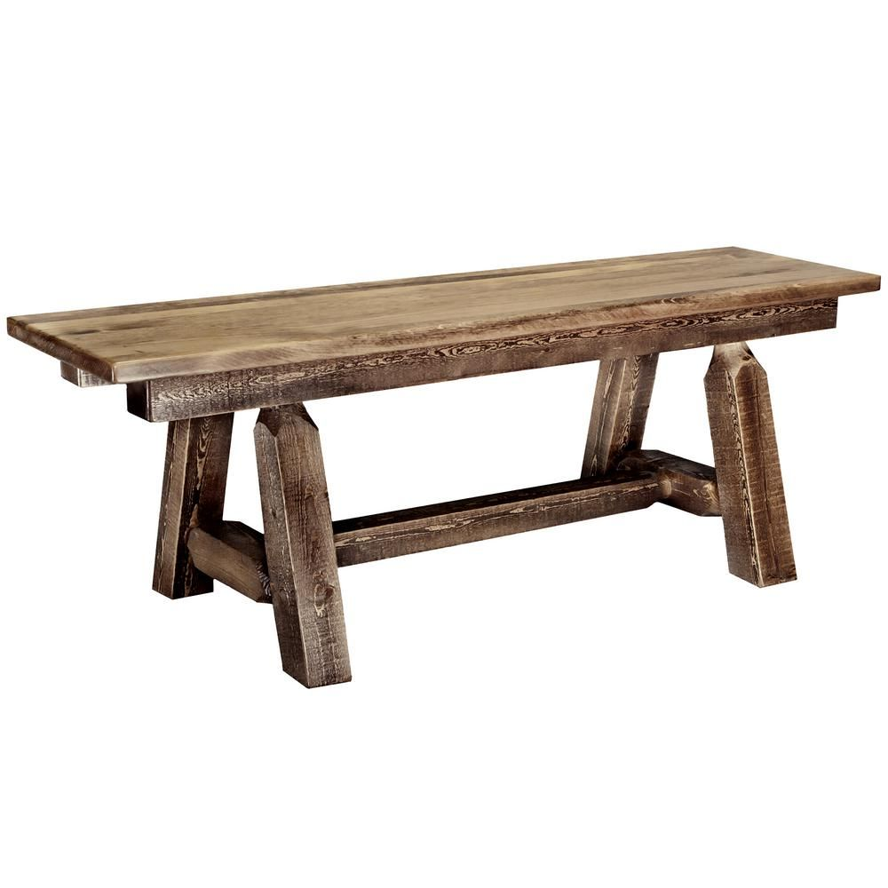 Montana woodworks homestead brown 72 in plank bench woodworking bench woodworking videos intarsia