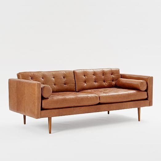 West Elm Monroe Mid Century Leather Sofa 80