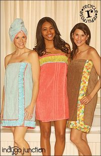 Turn your standard towels into an upcycled spa collection with Indygo Junction's Spa Shower Set Pattern. This set contains instructions for making a towel into a self-closing wrap with a plain or ruffled band plus a matching turban. Also included are instructions to create a stand-alone, elastic, fabric-covered band that can be used to keep bath towel securely in place with velcro closure. $9.99