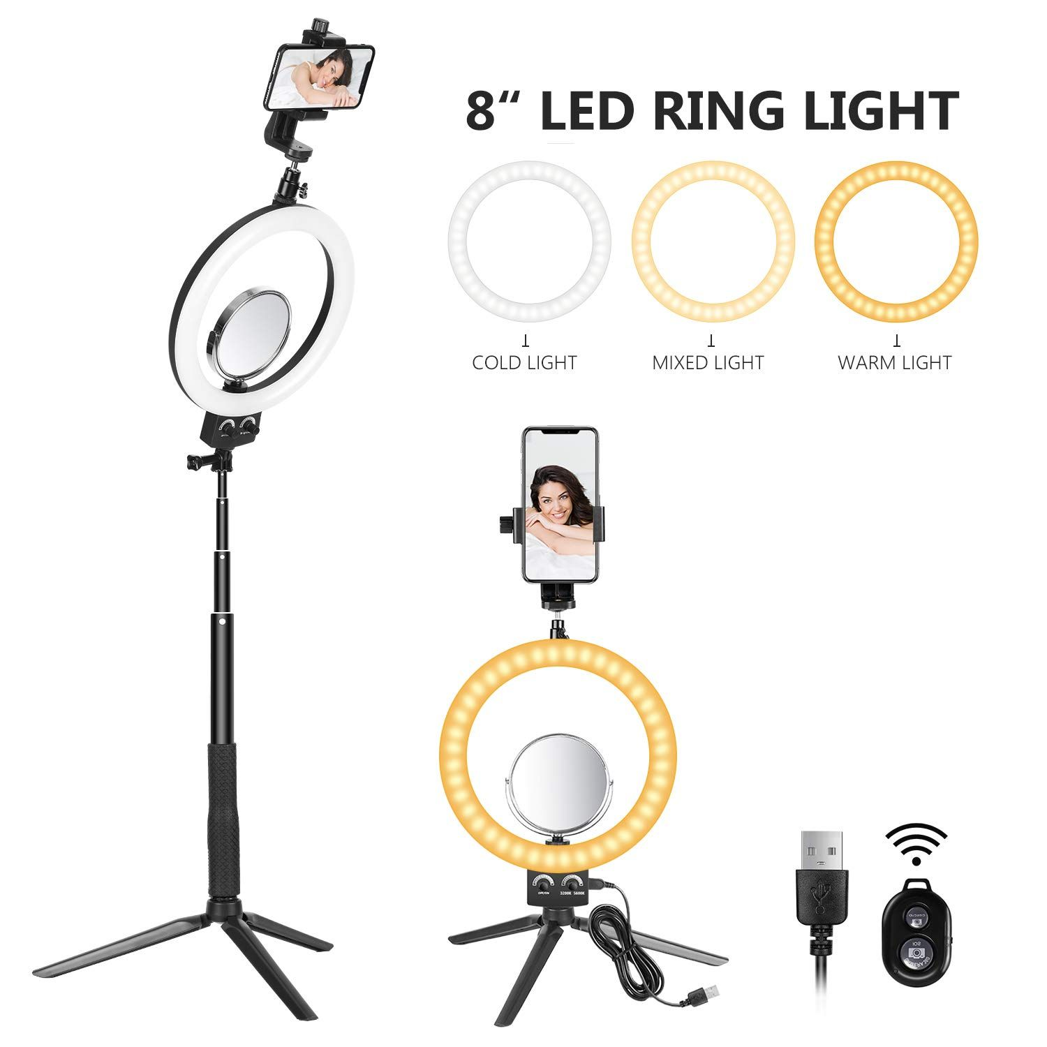 4 Colors Red, Yellow, White, Blue Neewer Photography Video Light Diffuser Kit for Neewer 14 inches 50W LED Ring Light and 36W Ring Light Flash Light
