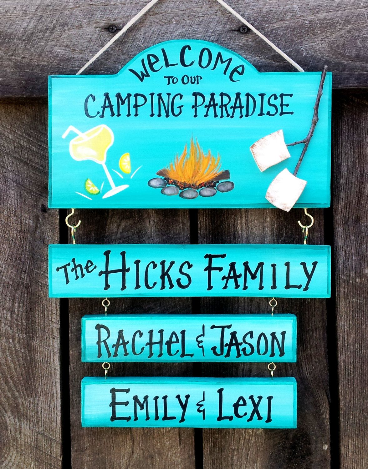 welcome to our camping paradise or backyard campsite camping sign