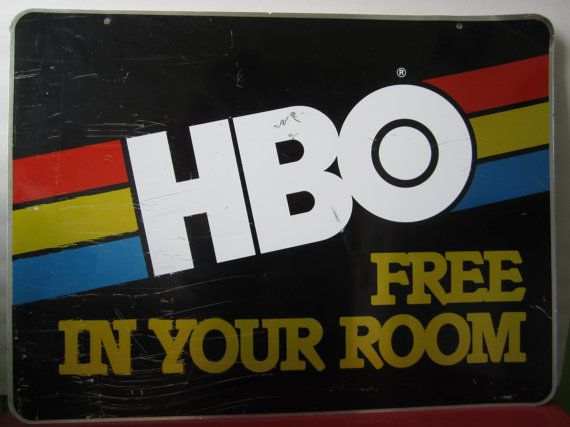 A super cool 1970 s metal hotel motel sign  HBO Free in Your Room. A super cool 1970 s metal hotel motel sign  HBO Free in Your Room