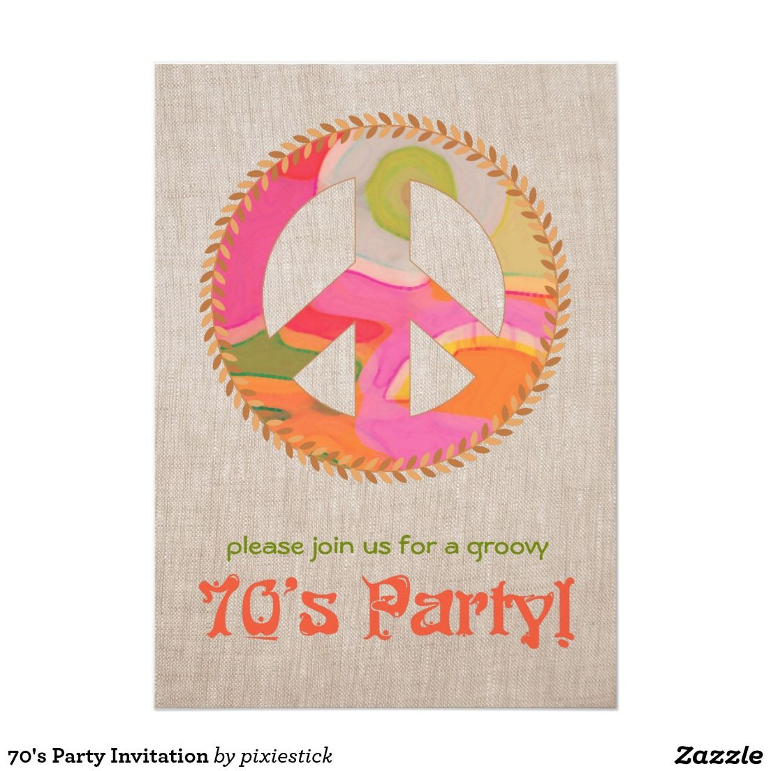 70\'s Party Invitation | Outdoor baby showers ideas | Pinterest ...