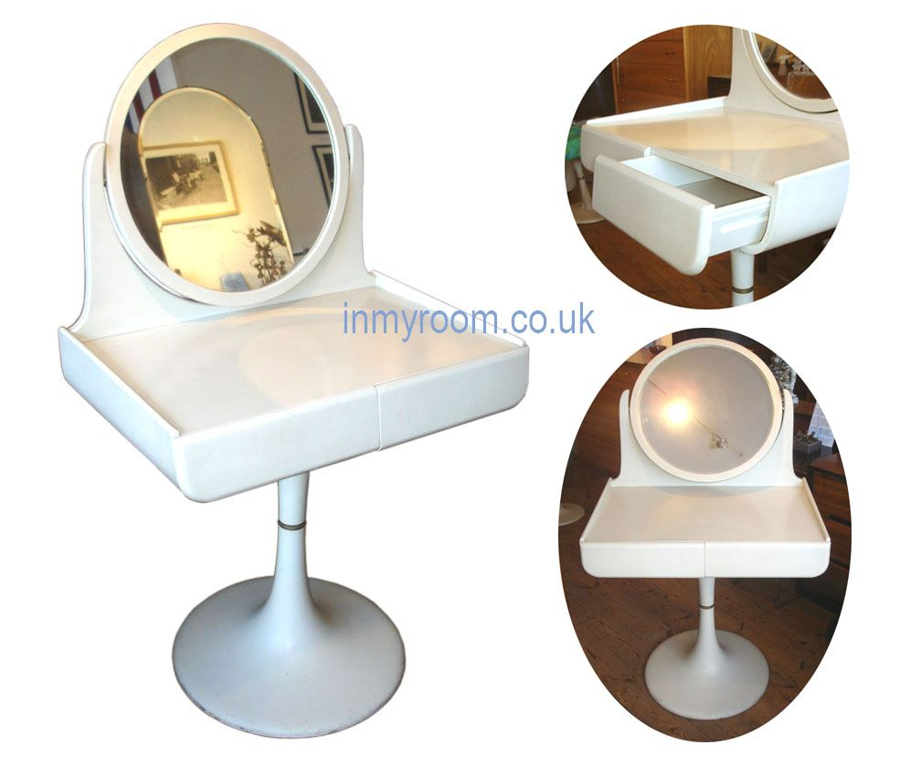 E Age Dressing Table A Tremendous Vintage On Tulip Pedestal Base Adjule Mirror And Two Drawers Made By Isku Of Finland