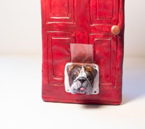 English Bulldog Brindle Dog Bully Humor Original Art Figurine Clay OOAK Nfac | eBay