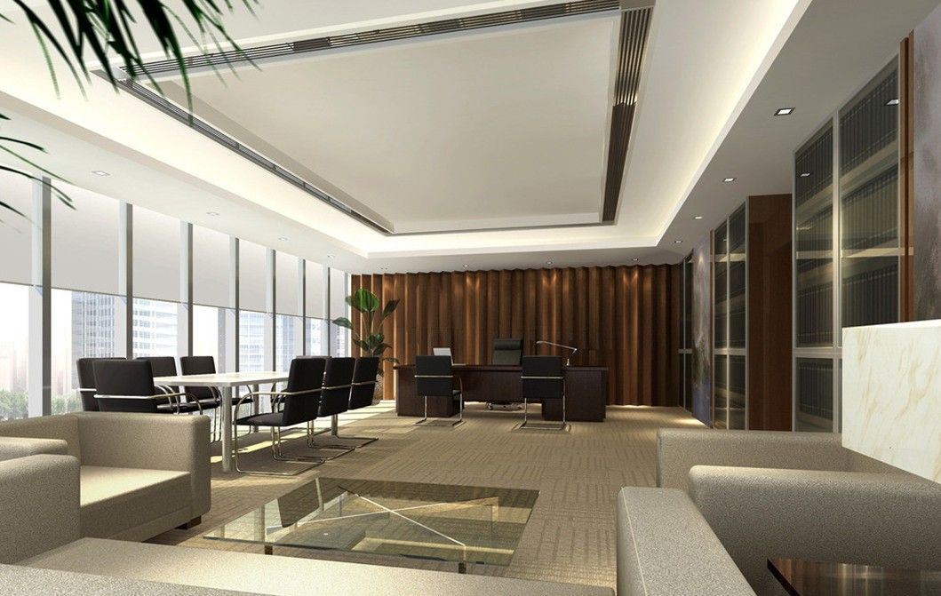 Home interior general manager office interior design rendering with french window - Office interior design ...