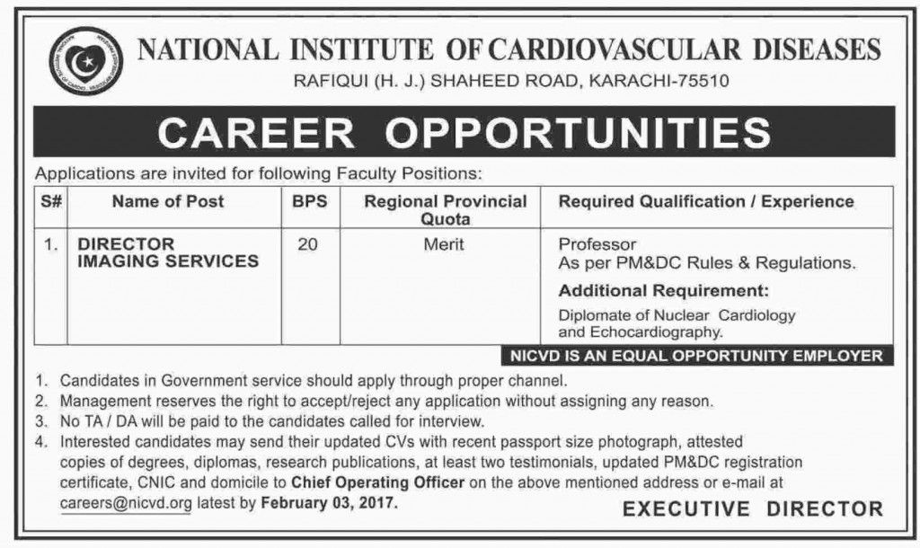 National Institute of Cardiovascular Diseases Jobs 2017