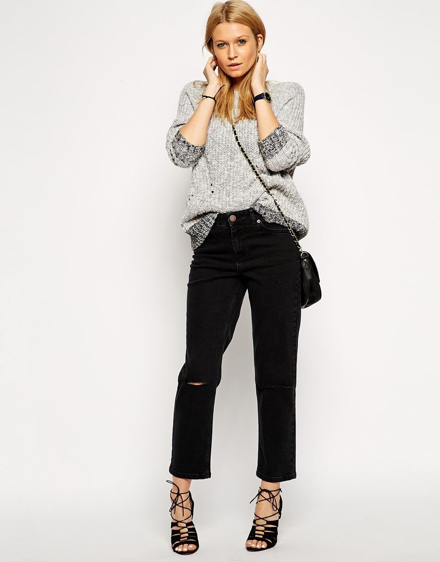 b448b5de21 ASOS+Thea+Girlfriend+Jeans+in+Washed+Black+with+Ripped+Knees | want ...