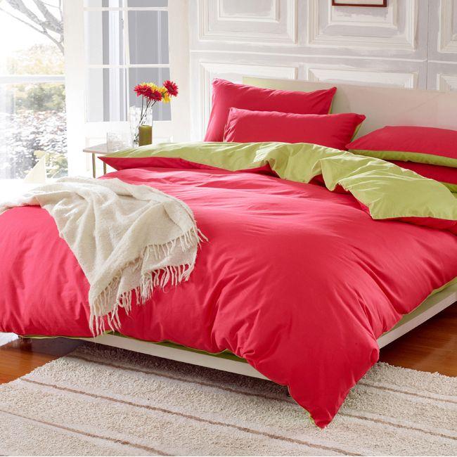 solid color double 100% cotton 4pcs bedding  set duvet cver set bedsheet hometextiles $42.00
